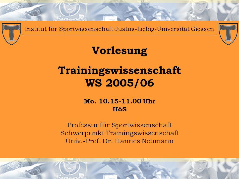 Institut für Sportwissenschaft Justus-Liebig-Universität Giessen Vorlesung Trainingswissenschaft WS 2005/06 Mo.