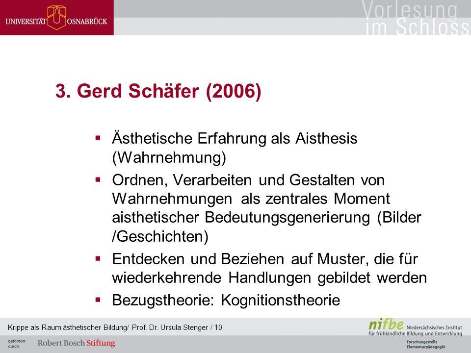 3. Gerd Schäfer (2006)  Ästhetische Erfahrung als Aisthesis (Wahrnehmung)  Ordnen, Verarbeiten und Gestalten von Wahrnehmungen als zentrales Moment