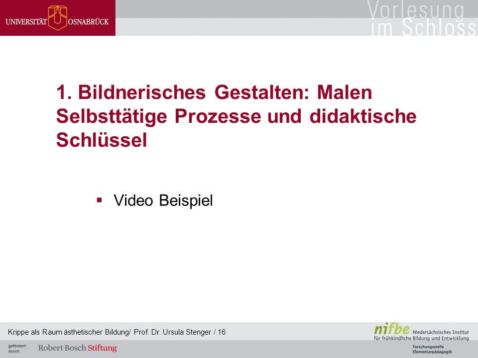 1. Bildnerisches Gestalten: Malen Selbsttätige Prozesse und didaktische Schlüssel  Video Beispiel Krippe als Raum ästhetischer Bildung/ Prof. Dr. Urs