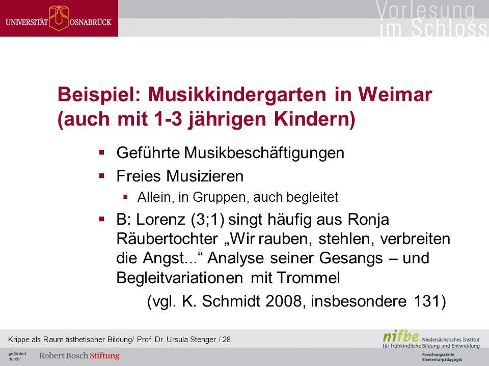 Beispiel: Musikkindergarten in Weimar (auch mit 1-3 jährigen Kindern)  Geführte Musikbeschäftigungen  Freies Musizieren  Allein, in Gruppen, auch b