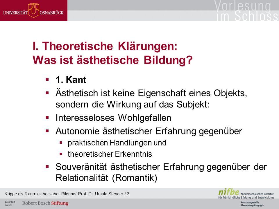 I. Theoretische Klärungen: Was ist ästhetische Bildung?  1. Kant  Ästhetisch ist keine Eigenschaft eines Objekts, sondern die Wirkung auf das Subjek