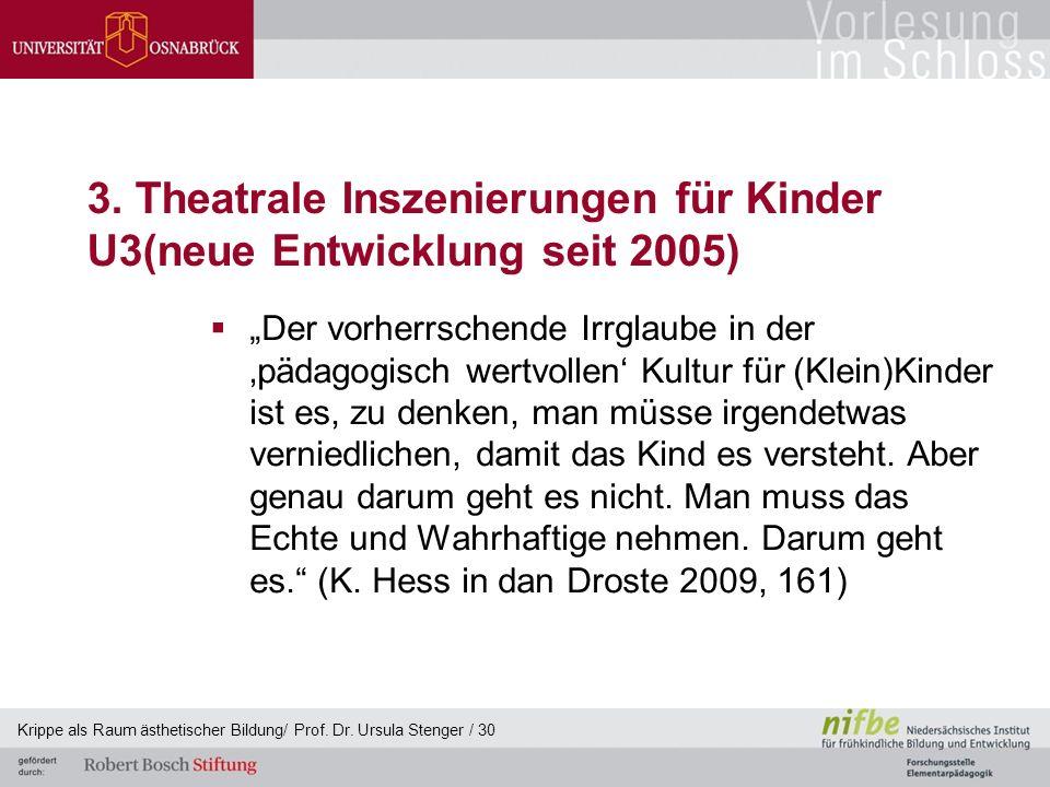 """3. Theatrale Inszenierungen für Kinder U3(neue Entwicklung seit 2005)  """"Der vorherrschende Irrglaube in der 'pädagogisch wertvollen' Kultur für (Klei"""