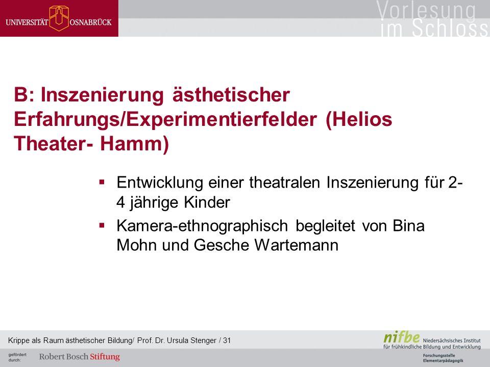 B: Inszenierung ästhetischer Erfahrungs/Experimentierfelder (Helios Theater- Hamm)  Entwicklung einer theatralen Inszenierung für 2- 4 jährige Kinder
