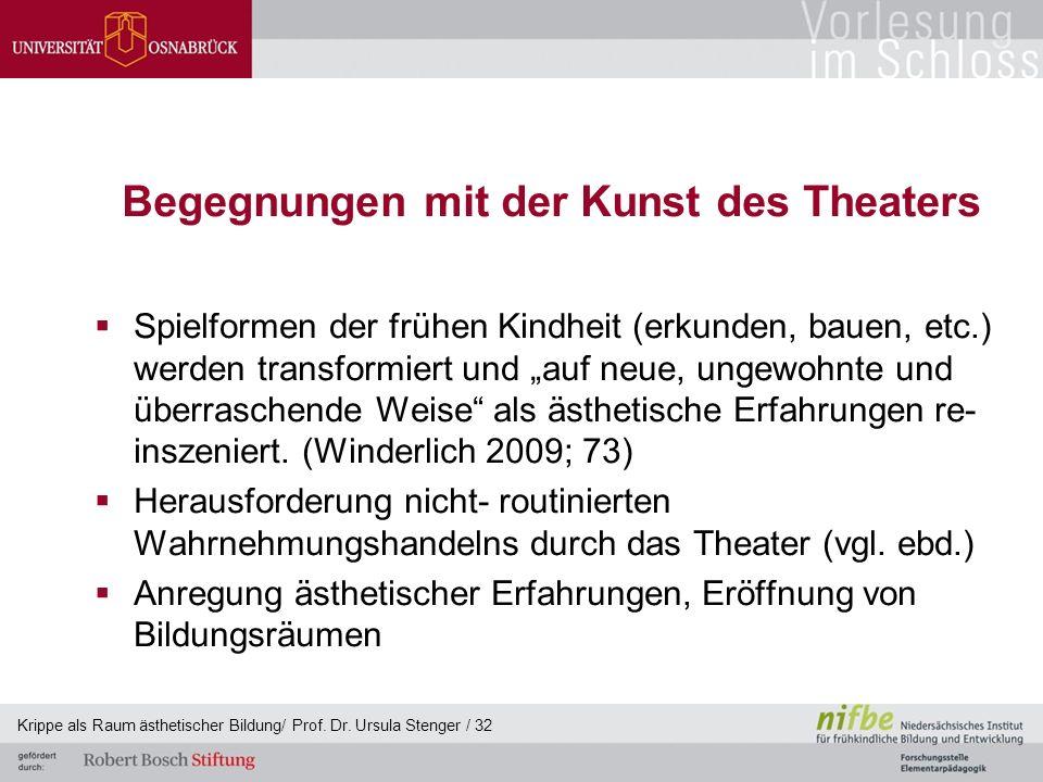 """Begegnungen mit der Kunst des Theaters  Spielformen der frühen Kindheit (erkunden, bauen, etc.) werden transformiert und """"auf neue, ungewohnte und üb"""