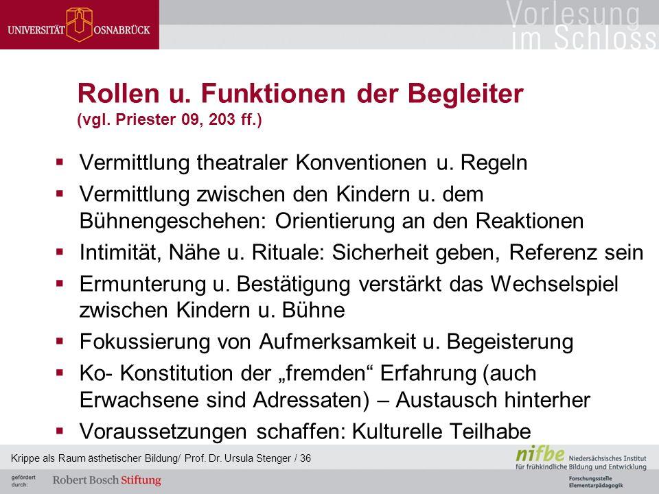 Rollen u. Funktionen der Begleiter (vgl. Priester 09, 203 ff.)  Vermittlung theatraler Konventionen u. Regeln  Vermittlung zwischen den Kindern u. d