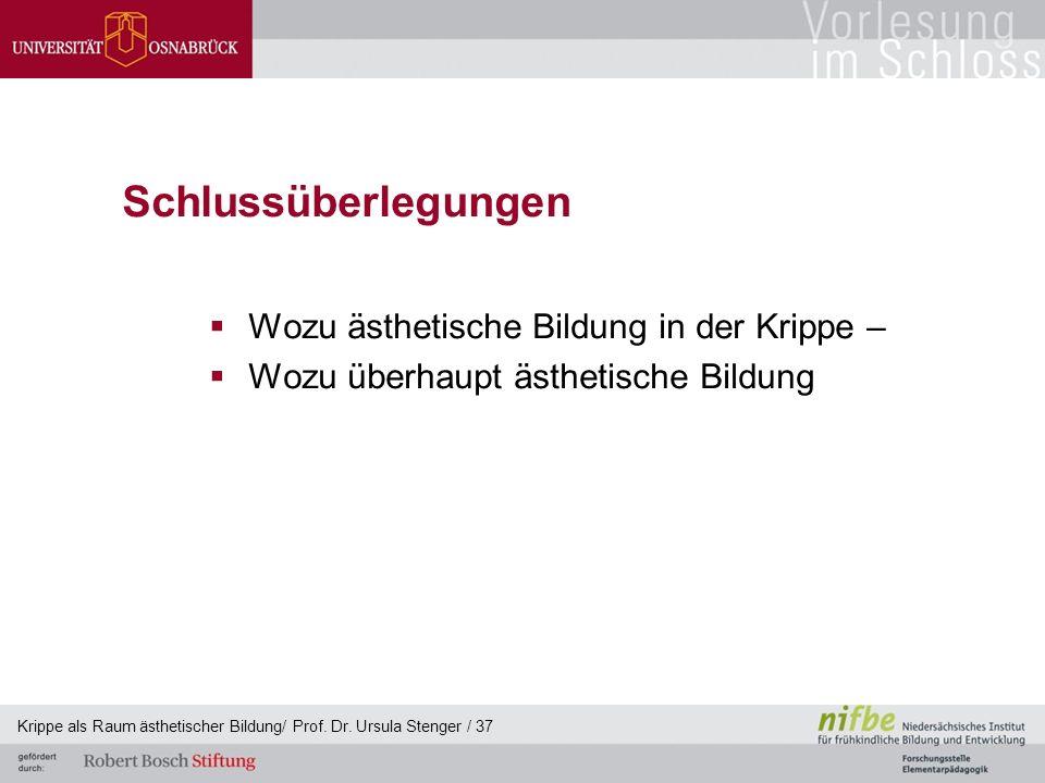 Schlussüberlegungen  Wozu ästhetische Bildung in der Krippe –  Wozu überhaupt ästhetische Bildung Krippe als Raum ästhetischer Bildung/ Prof. Dr. Ur
