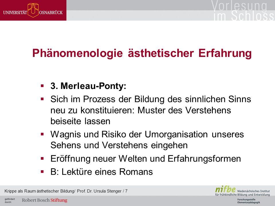 Phänomenologie ästhetischer Erfahrung  3. Merleau-Ponty:  Sich im Prozess der Bildung des sinnlichen Sinns neu zu konstituieren: Muster des Verstehe