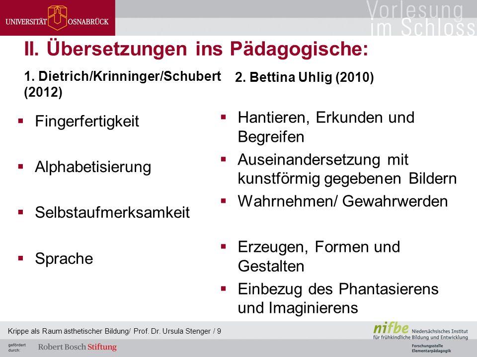 II. Übersetzungen ins Pädagogische:  Fingerfertigkeit  Alphabetisierung  Selbstaufmerksamkeit  Sprache 2. Bettina Uhlig (2010)  Hantieren, Erkund