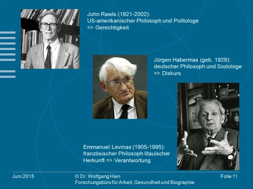 Juni 2015© Dr. Wolfgang Hien Forschungsbüro für Arbeit, Gesundheit und Biographie Folie 11 John Rawls (1921-2002): US-amerikanischer Philosoph und Pol