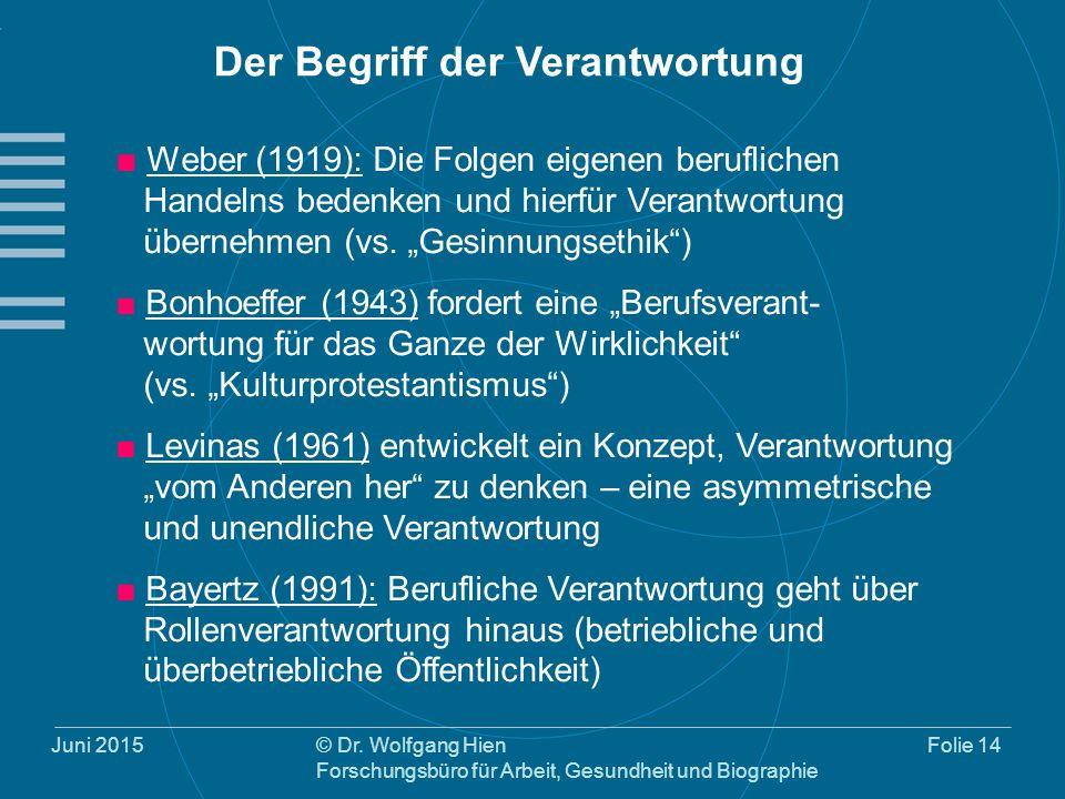 Juni 2015© Dr. Wolfgang Hien Forschungsbüro für Arbeit, Gesundheit und Biographie Folie 14 ■ Weber (1919): Die Folgen eigenen beruflichen Handelns bed