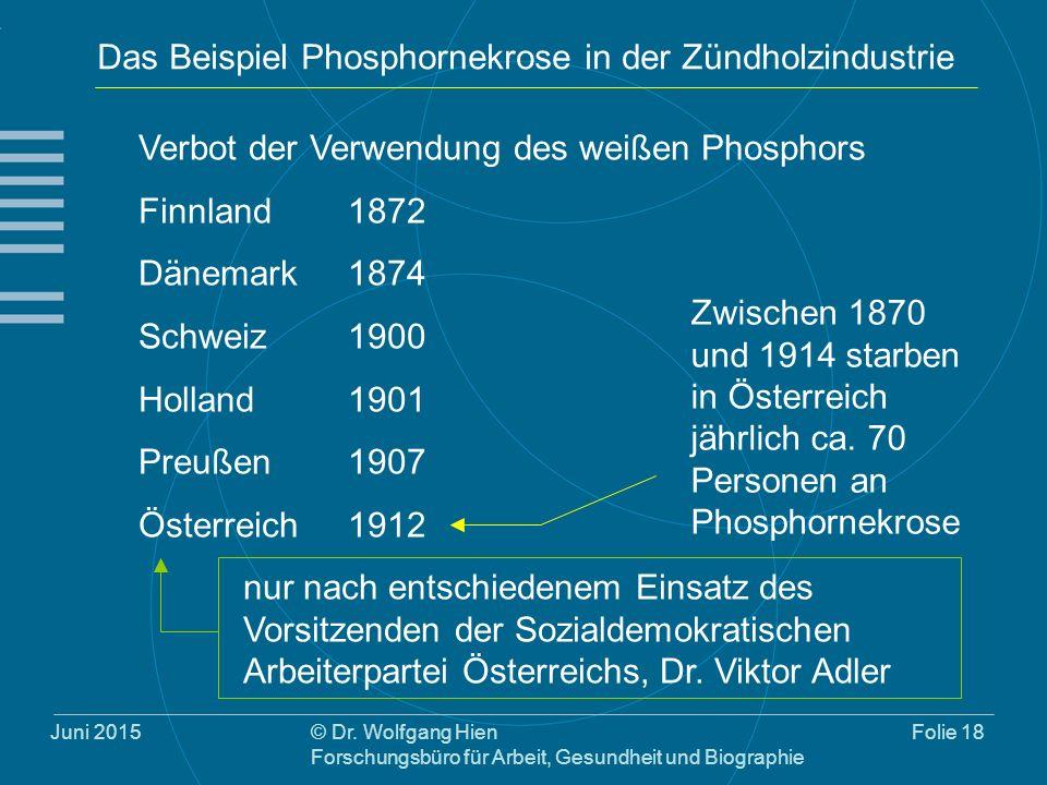 Juni 2015© Dr. Wolfgang Hien Forschungsbüro für Arbeit, Gesundheit und Biographie Folie 18 Das Beispiel Phosphornekrose in der Zündholzindustrie Verbo