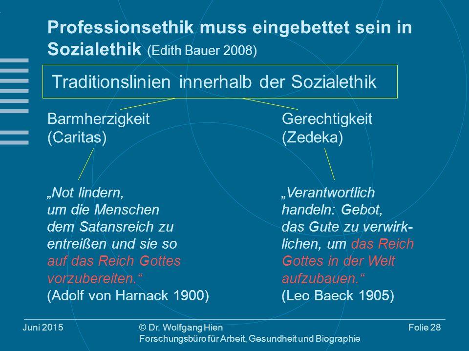 Juni 2015© Dr. Wolfgang Hien Forschungsbüro für Arbeit, Gesundheit und Biographie Folie 28 Professionsethik muss eingebettet sein in Sozialethik (Edit