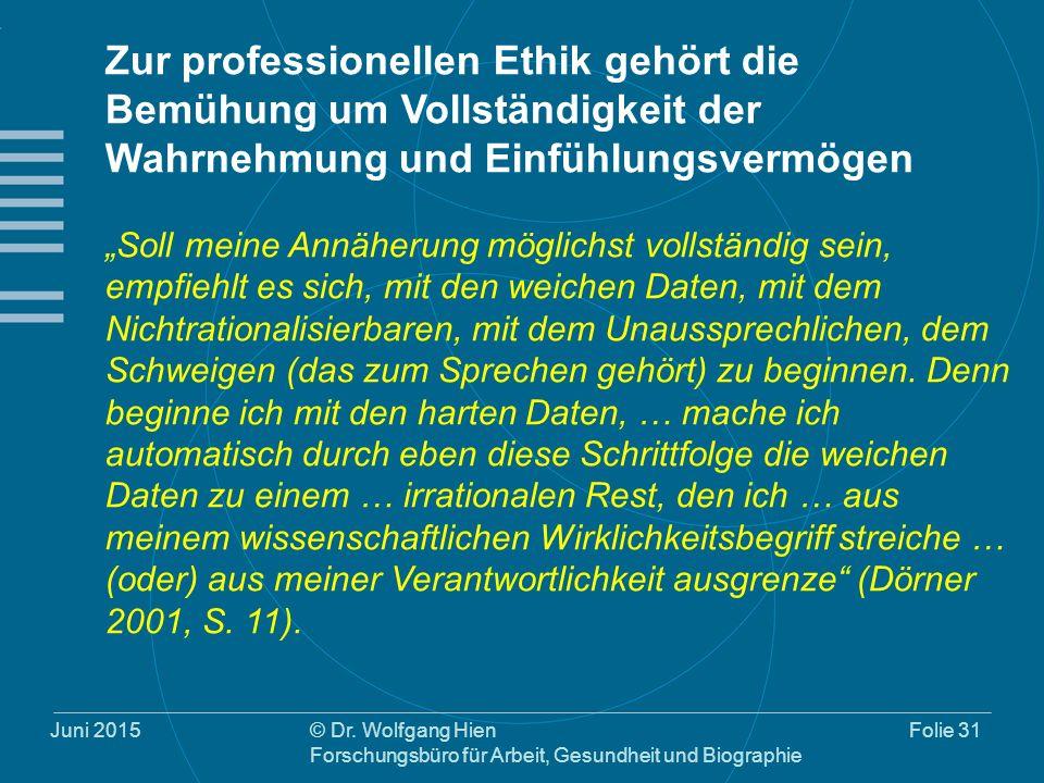 Juni 2015© Dr. Wolfgang Hien Forschungsbüro für Arbeit, Gesundheit und Biographie Folie 31 Zur professionellen Ethik gehört die Bemühung um Vollständi