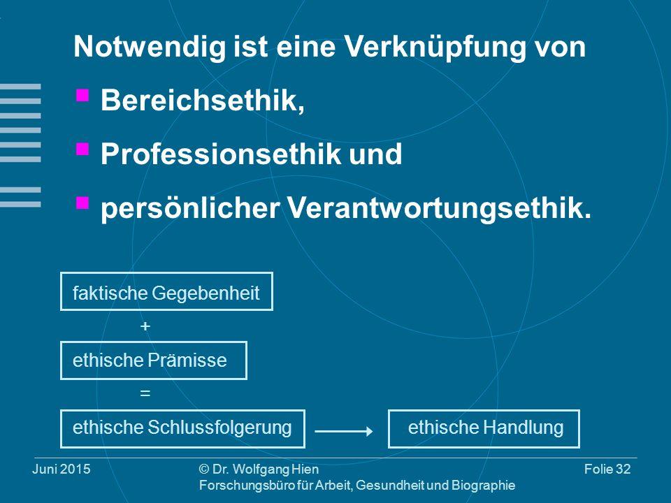 Juni 2015© Dr. Wolfgang Hien Forschungsbüro für Arbeit, Gesundheit und Biographie Folie 32 Notwendig ist eine Verknüpfung von  Bereichsethik,  Profe