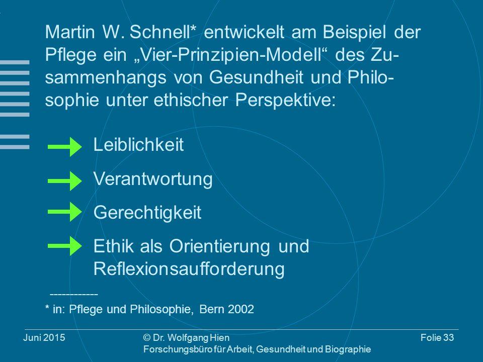"""Juni 2015© Dr. Wolfgang Hien Forschungsbüro für Arbeit, Gesundheit und Biographie Folie 33 Martin W. Schnell* entwickelt am Beispiel der Pflege ein """"V"""