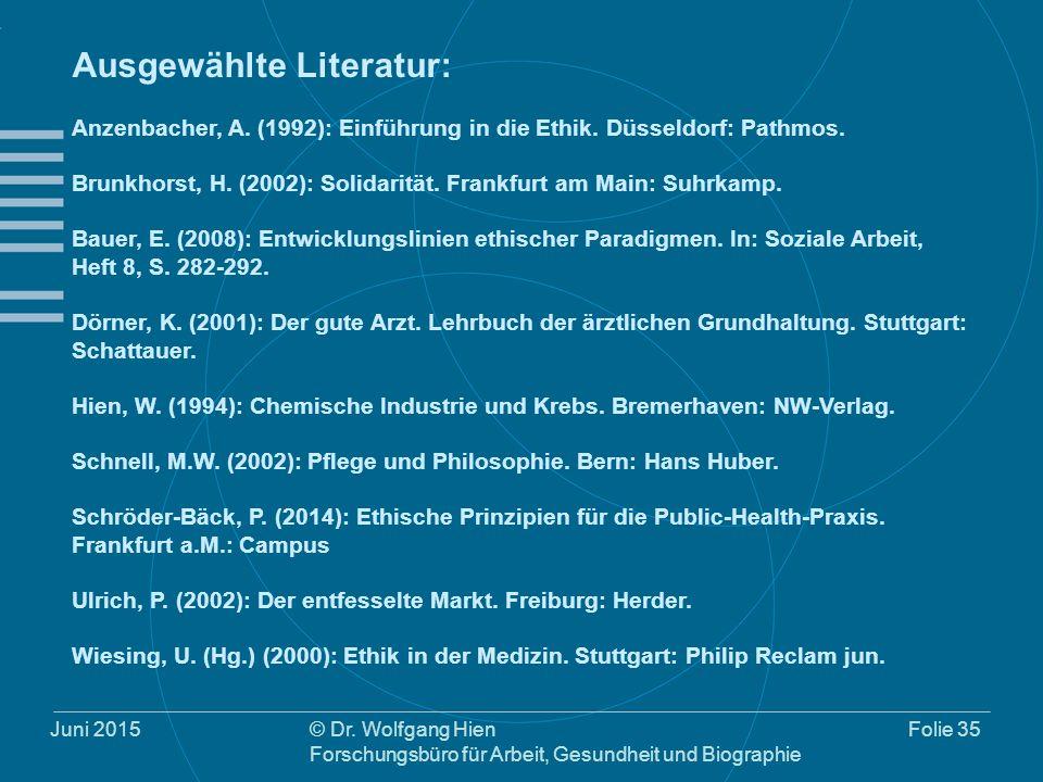 Juni 2015© Dr. Wolfgang Hien Forschungsbüro für Arbeit, Gesundheit und Biographie Folie 35 Ausgewählte Literatur: Anzenbacher, A. (1992): Einführung i