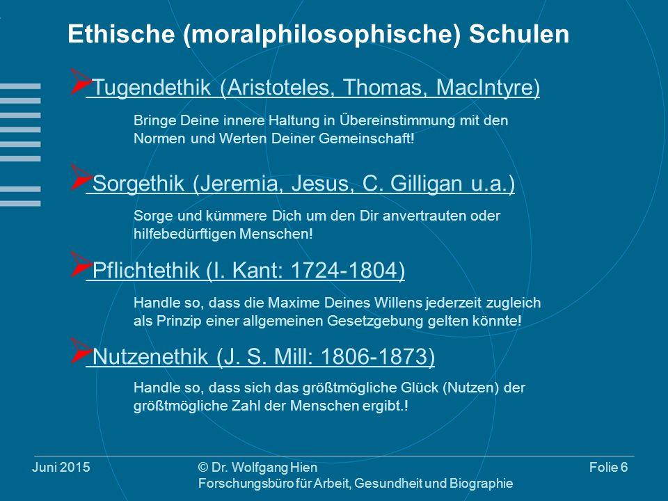 Juni 2015© Dr. Wolfgang Hien Forschungsbüro für Arbeit, Gesundheit und Biographie Folie 6 Ethische (moralphilosophische) Schulen  Tugendethik (Aristo