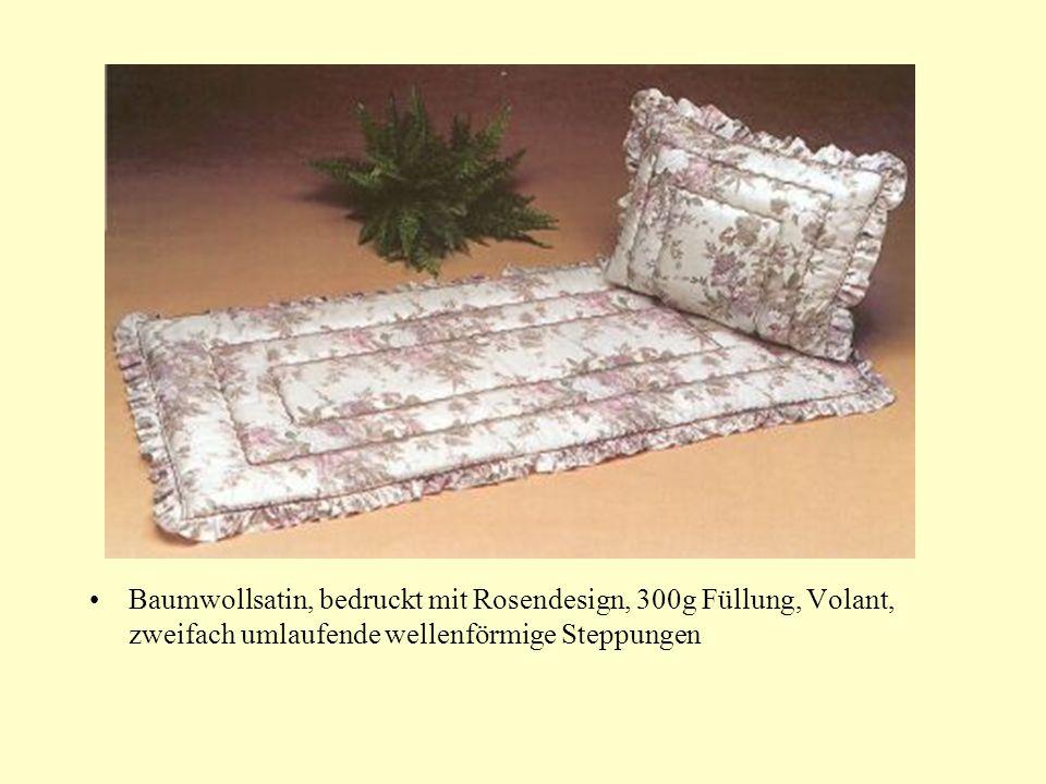 Baumwollsatin, bedruckt mit Rosendesign, 300g Füllung, Volant, zweifach umlaufende wellenförmige Steppungen