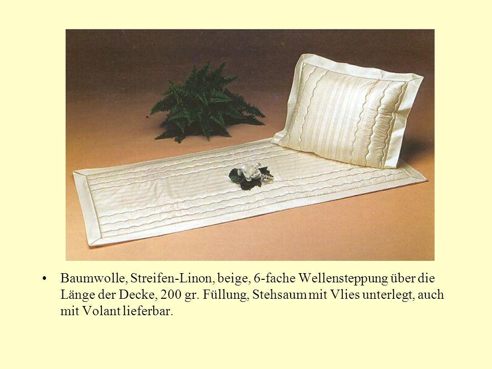 Baumwolle, Streifen-Linon, beige, 6-fache Wellensteppung über die Länge der Decke, 200 gr.