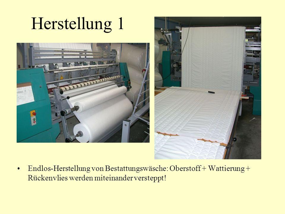 Herstellung 1 Endlos-Herstellung von Bestattungswäsche: Oberstoff + Wattierung + Rückenvlies werden miteinander versteppt!