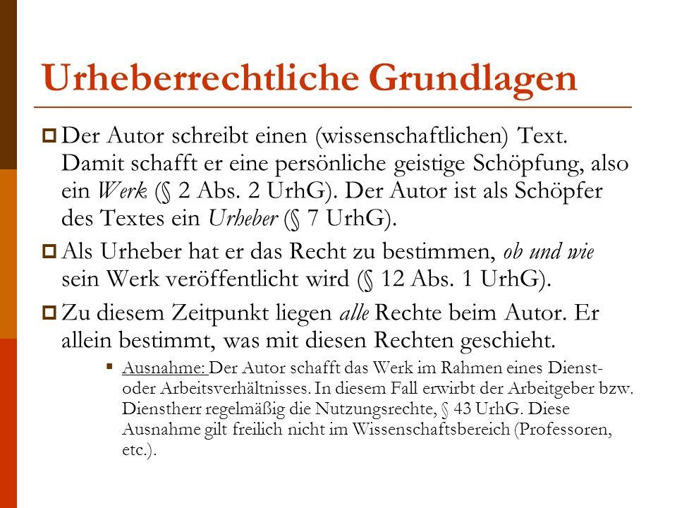 Urheberrechtliche Grundlagen Der Urheber erwirbt mit der Verkörperung seines Werkes zwei unterschiedliche Rechte, § 11 S.