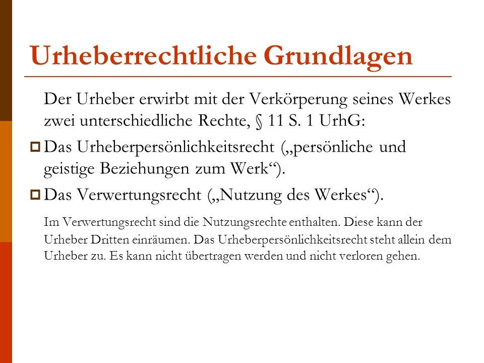 Urheberrechtliche Grundlagen Der Urheber hat zunächst das Verwertungsrecht.