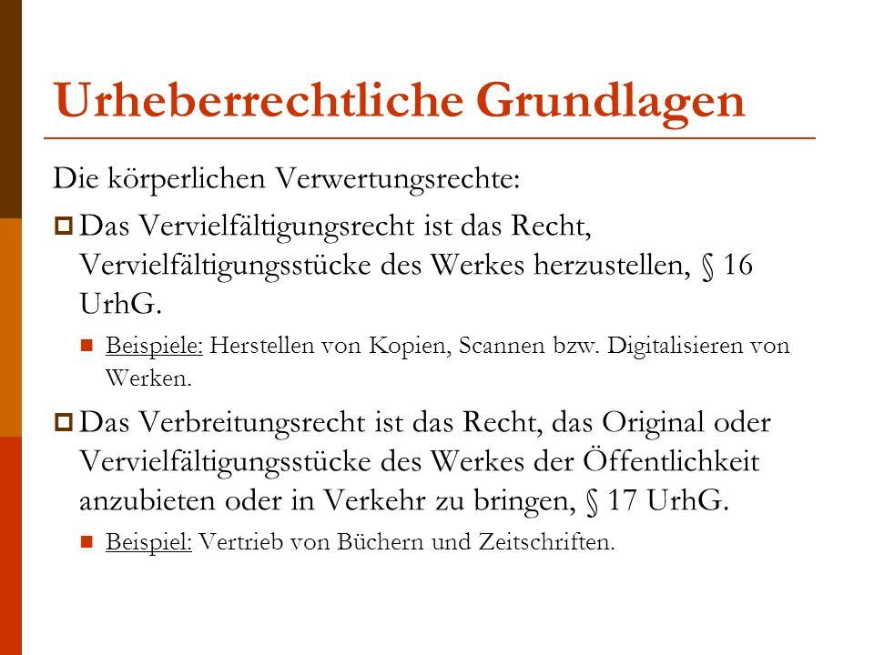 Urheberrechtliche Grundlagen Die körperlichen Verwertungsrechte:  Das Vervielfältigungsrecht ist das Recht, Vervielfältigungsstücke des Werkes herzustellen, § 16 UrhG.