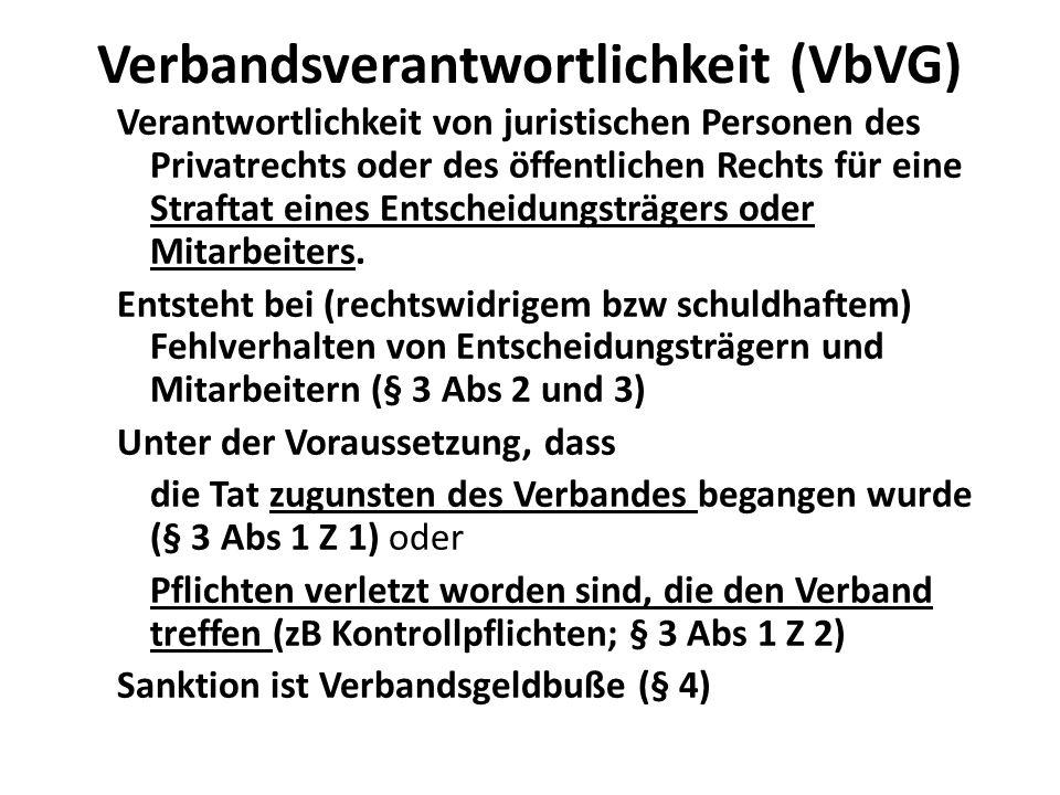 Verbandsverantwortlichkeit (VbVG) Verantwortlichkeit von juristischen Personen des Privatrechts oder des öffentlichen Rechts für eine Straftat eines Entscheidungsträgers oder Mitarbeiters.