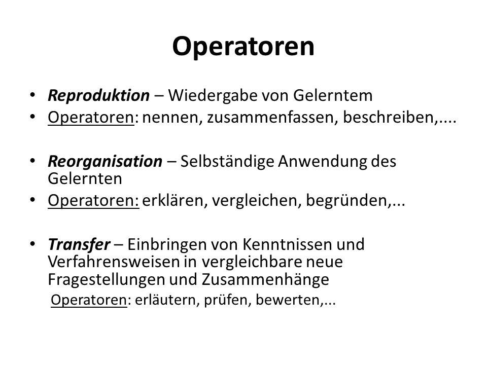 Operatoren Reproduktion – Wiedergabe von Gelerntem Operatoren: nennen, zusammenfassen, beschreiben,.... Reorganisation – Selbständige Anwendung des Ge