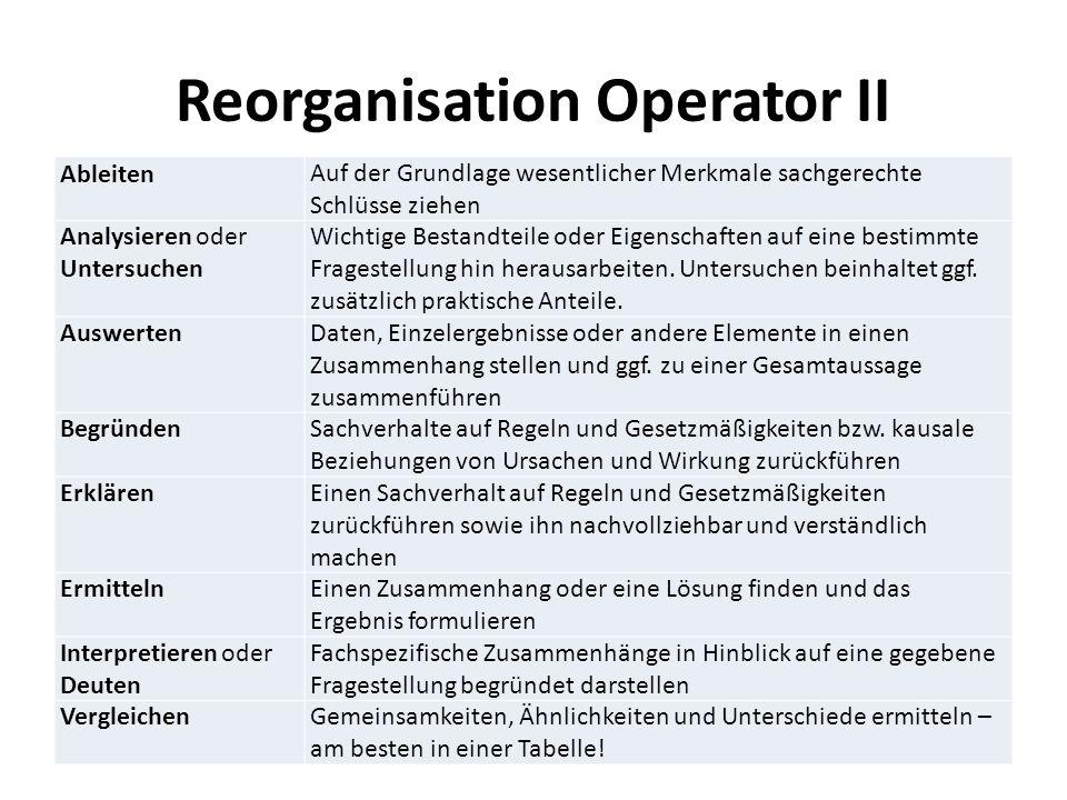 Reorganisation Operator II AbleitenAuf der Grundlage wesentlicher Merkmale sachgerechte Schlüsse ziehen Analysieren oder Untersuchen Wichtige Bestandteile oder Eigenschaften auf eine bestimmte Fragestellung hin herausarbeiten.