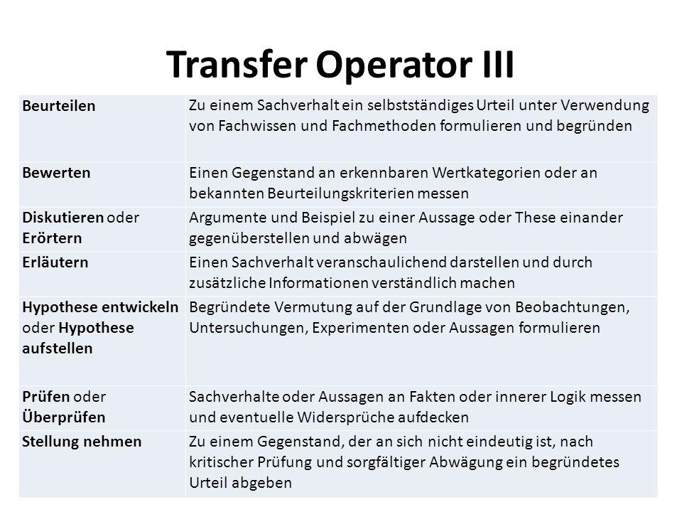 Transfer Operator III BeurteilenZu einem Sachverhalt ein selbstständiges Urteil unter Verwendung von Fachwissen und Fachmethoden formulieren und begrü