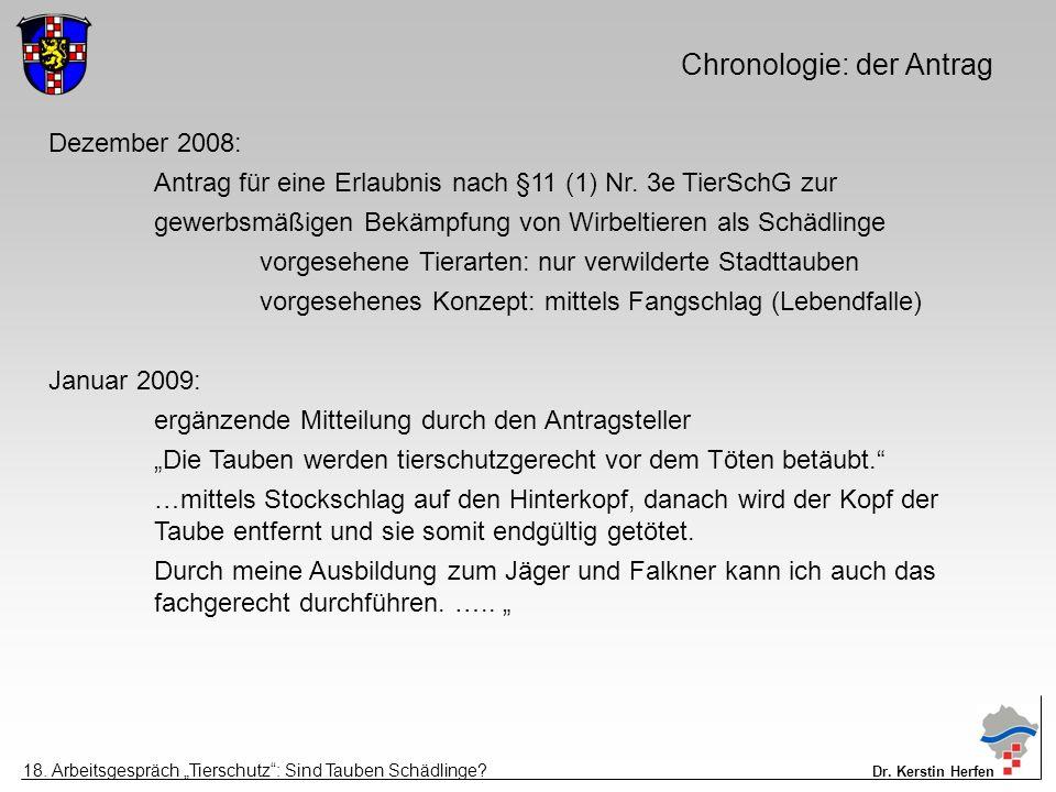 Chronologie: der Antrag Dezember 2008: Antrag für eine Erlaubnis nach §11 (1) Nr.
