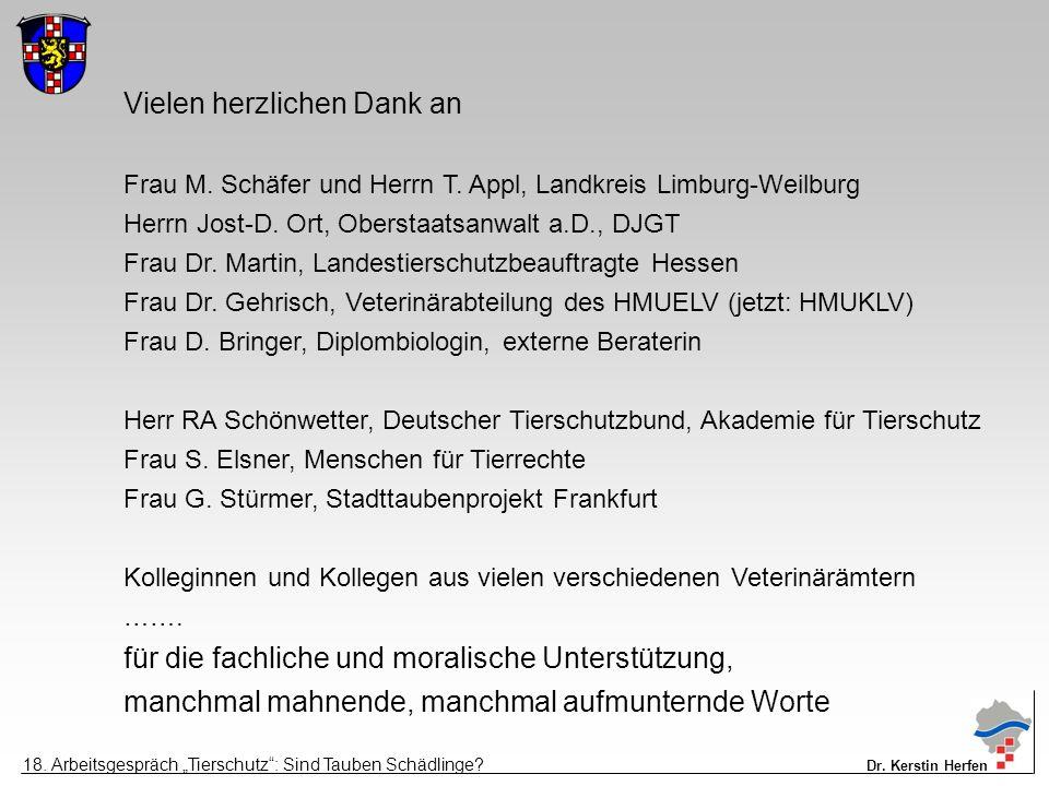 Vielen herzlichen Dank an Frau M. Schäfer und Herrn T. Appl, Landkreis Limburg-Weilburg Herrn Jost-D. Ort, Oberstaatsanwalt a.D., DJGT Frau Dr. Martin