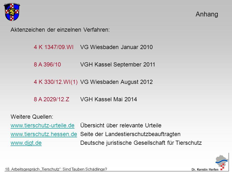 Anhang Aktenzeichen der einzelnen Verfahren: 4 K 1347/09.WIVG Wiesbaden Januar 2010 8 A 396/10VGH Kassel September 2011 4 K 330/12.WI(1)VG Wiesbaden A