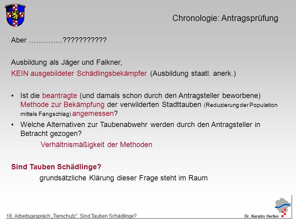 Chronologie: Antragsprüfung Aber …………..??????????? Ausbildung als Jäger und Falkner, KEIN ausgebildeter Schädlingsbekämpfer (Ausbildung staatl. anerk.