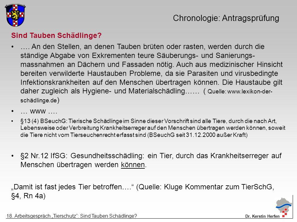 Chronologie: Antragsprüfung Sind Tauben Schädlinge.