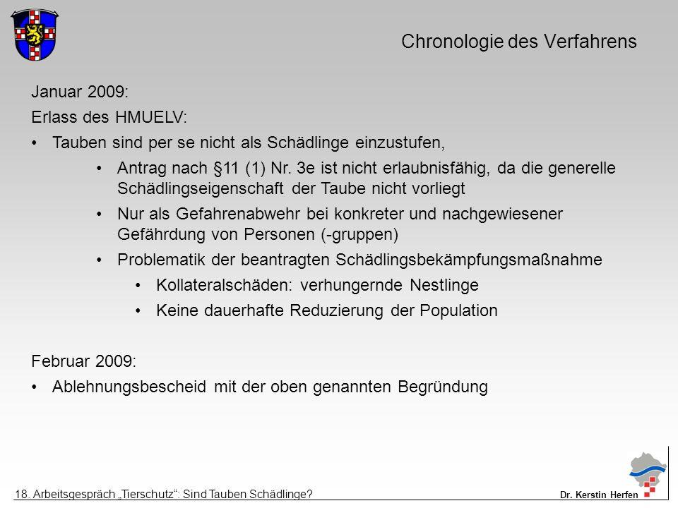 Chronologie des Verfahrens Januar 2009: Erlass des HMUELV: Tauben sind per se nicht als Schädlinge einzustufen, Antrag nach §11 (1) Nr.