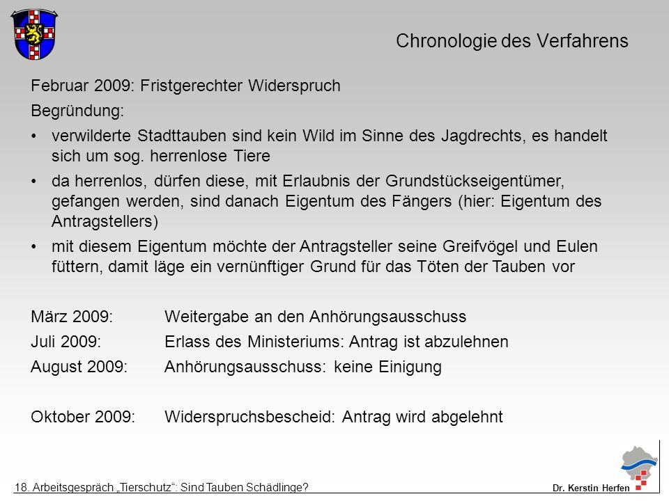 Chronologie des Verfahrens Februar 2009: Fristgerechter Widerspruch Begründung: verwilderte Stadttauben sind kein Wild im Sinne des Jagdrechts, es handelt sich um sog.