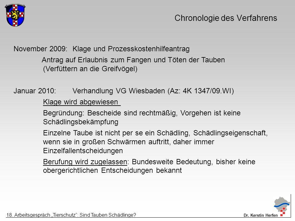Chronologie des Verfahrens November 2009:Klage und Prozesskostenhilfeantrag Antrag auf Erlaubnis zum Fangen und Töten der Tauben (Verfüttern an die Greifvögel) Januar 2010:Verhandlung VG Wiesbaden (Az: 4K 1347/09.WI) Klage wird abgewiesen Begründung: Bescheide sind rechtmäßig, Vorgehen ist keine Schädlingsbekämpfung Einzelne Taube ist nicht per se ein Schädling, Schädlingseigenschaft, wenn sie in großen Schwärmen auftritt, daher immer Einzelfallentscheidungen Berufung wird zugelassen: Bundesweite Bedeutung, bisher keine obergerichtlichen Entscheidungen bekannt 18.