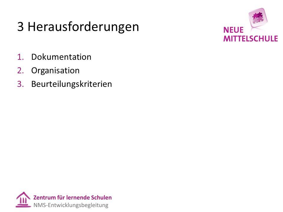 3 Herausforderungen 1.Dokumentation 2.Organisation 3.Beurteilungskriterien