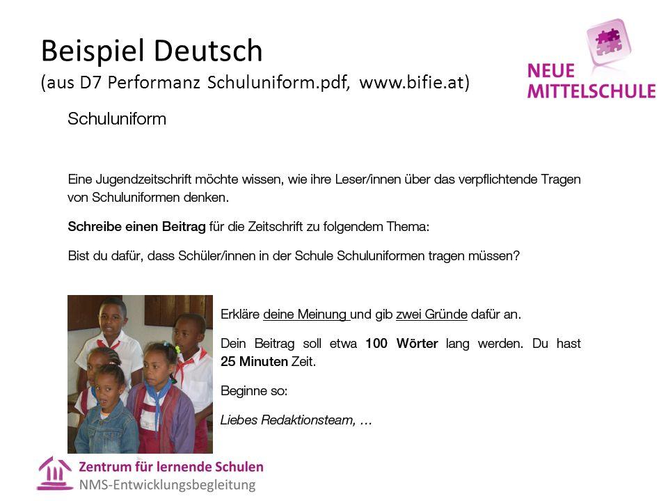 Beispiel Deutsch (aus D7 Performanz Schuluniform.pdf, www.bifie.at)