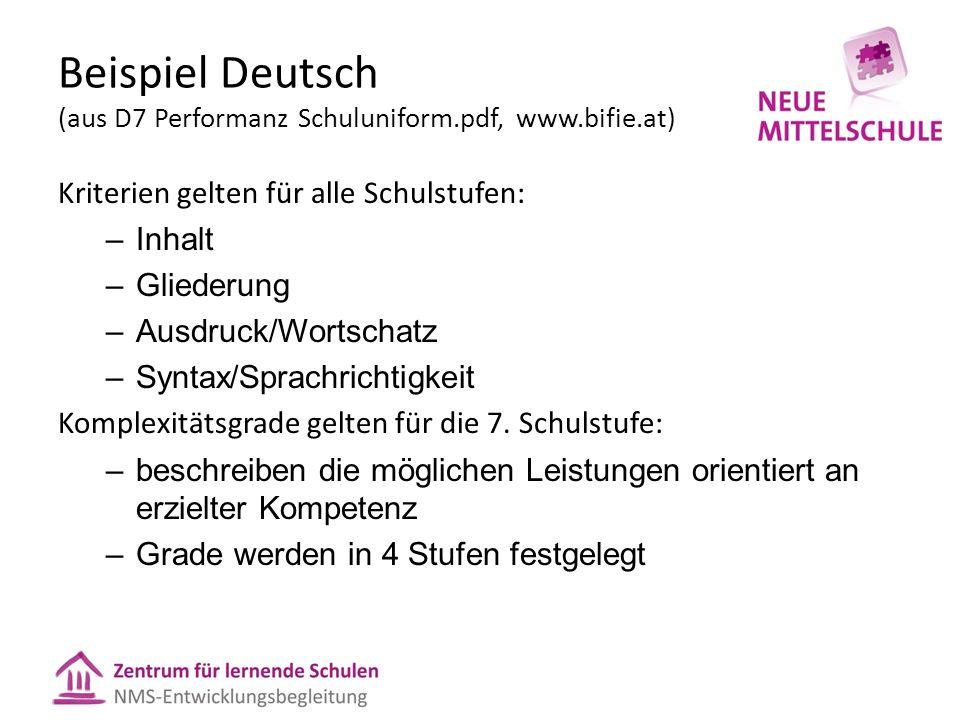 Kriterien gelten für alle Schulstufen: –Inhalt –Gliederung –Ausdruck/Wortschatz –Syntax/Sprachrichtigkeit Komplexitätsgrade gelten für die 7.