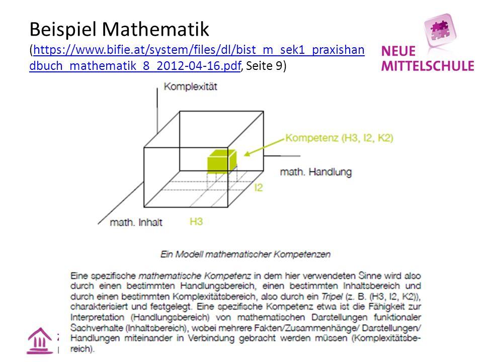 Beispiel Mathematik (https://www.bifie.at/system/files/dl/bist_m_sek1_praxishan dbuch_mathematik_8_2012-04-16.pdf, Seite 9)https://www.bifie.at/system/files/dl/bist_m_sek1_praxishan dbuch_mathematik_8_2012-04-16.pdf