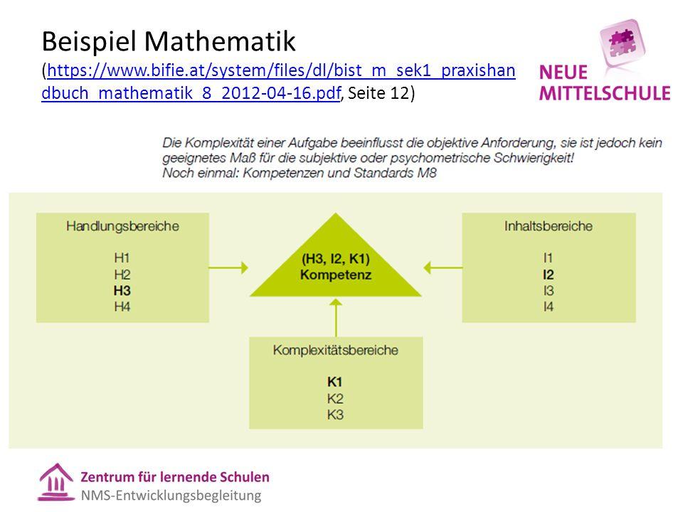 Beispiel Mathematik (https://www.bifie.at/system/files/dl/bist_m_sek1_praxishan dbuch_mathematik_8_2012-04-16.pdf, Seite 12)https://www.bifie.at/system/files/dl/bist_m_sek1_praxishan dbuch_mathematik_8_2012-04-16.pdf