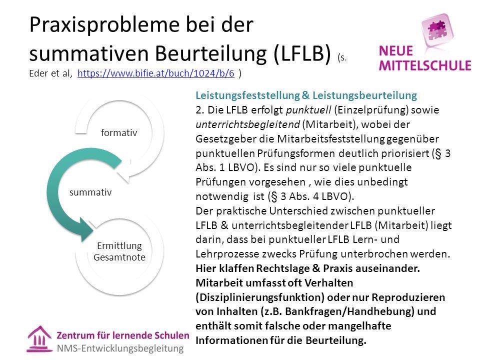 Praxisprobleme bei der summativen Beurteilung (LFLB) (s.