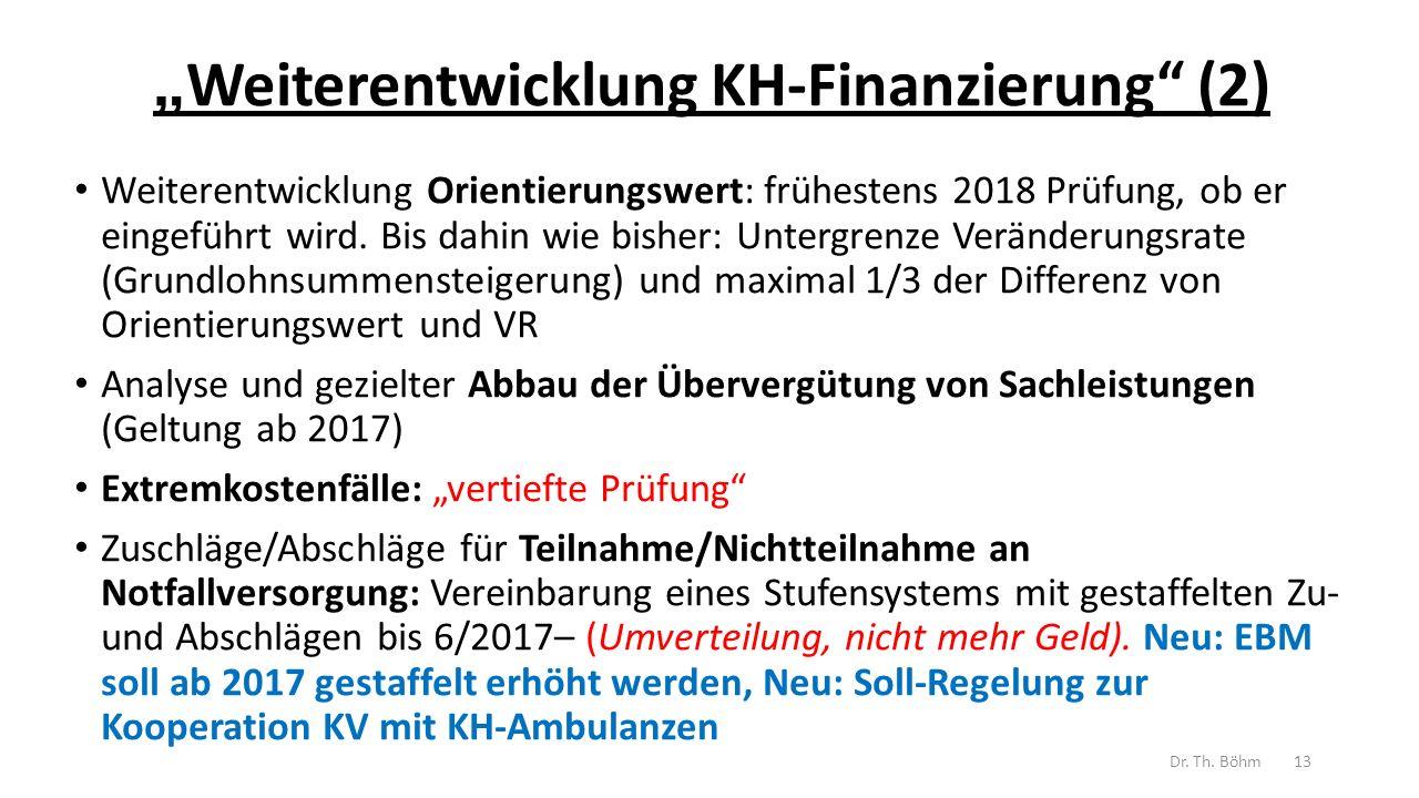 """"""" Weiterentwicklung KH-Finanzierung (2) Weiterentwicklung Orientierungswert: frühestens 2018 Prüfung, ob er eingeführt wird."""