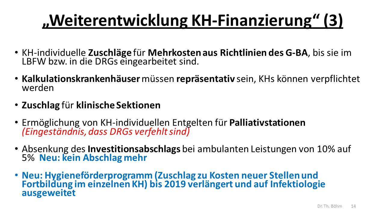 """""""Weiterentwicklung KH-Finanzierung (3) KH-individuelle Zuschläge für Mehrkosten aus Richtlinien des G-BA, bis sie im LBFW bzw."""