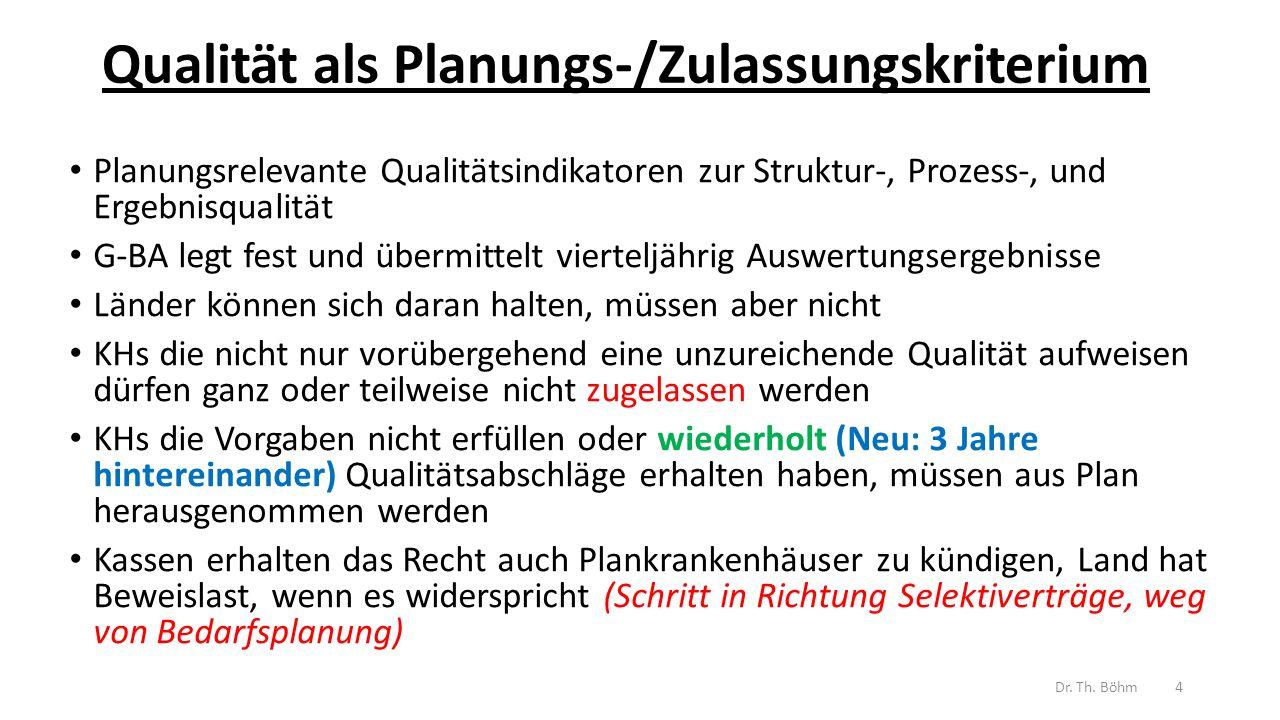 Qualität als Planungs-/Zulassungskriterium Planungsrelevante Qualitätsindikatoren zur Struktur-, Prozess-, und Ergebnisqualität G-BA legt fest und übermittelt vierteljährig Auswertungsergebnisse Länder können sich daran halten, müssen aber nicht KHs die nicht nur vorübergehend eine unzureichende Qualität aufweisen dürfen ganz oder teilweise nicht zugelassen werden KHs die Vorgaben nicht erfüllen oder wiederholt (Neu: 3 Jahre hintereinander) Qualitätsabschläge erhalten haben, müssen aus Plan herausgenommen werden Kassen erhalten das Recht auch Plankrankenhäuser zu kündigen, Land hat Beweislast, wenn es widerspricht (Schritt in Richtung Selektiverträge, weg von Bedarfsplanung) Dr.