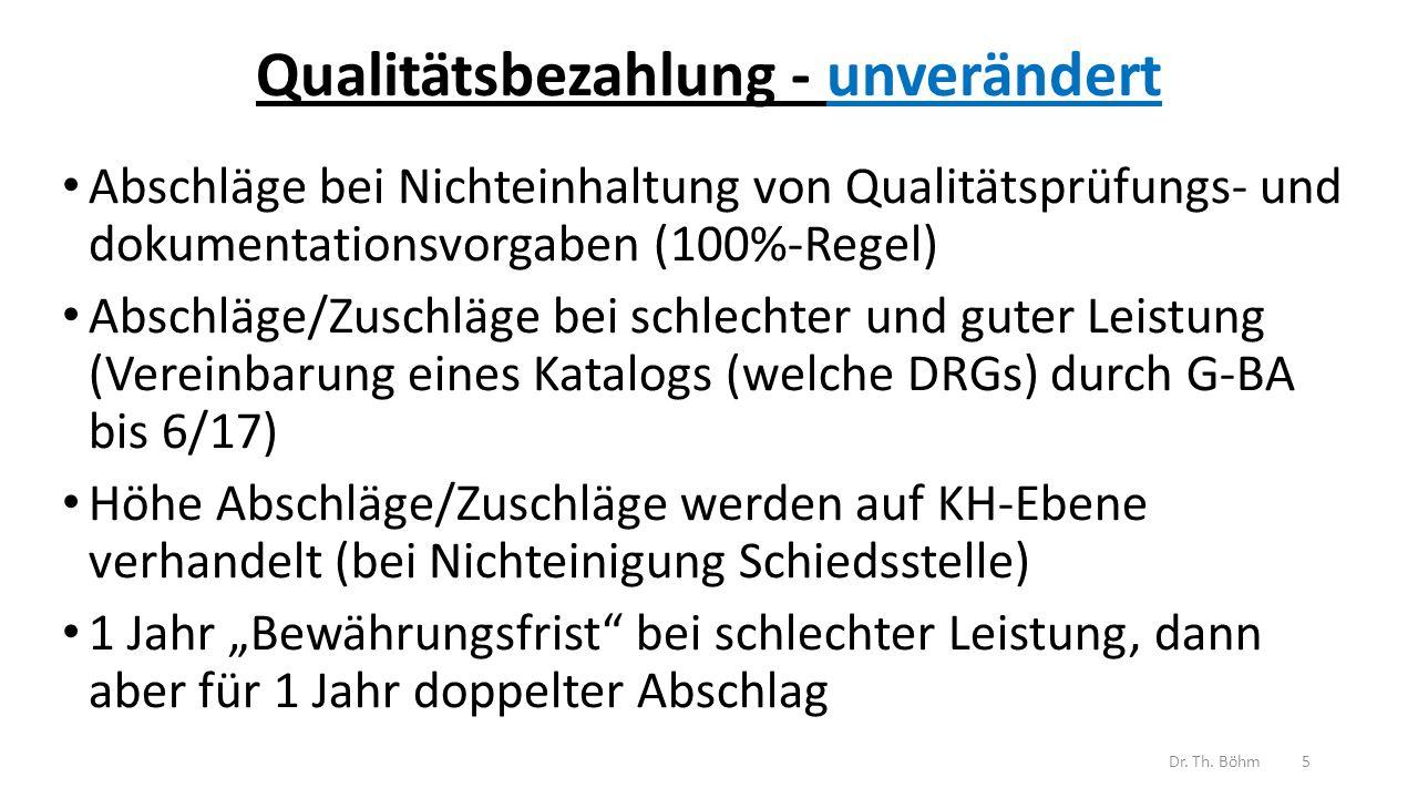 """Qualitätsbezahlung - unverändert Abschläge bei Nichteinhaltung von Qualitätsprüfungs- und dokumentationsvorgaben (100%-Regel) Abschläge/Zuschläge bei schlechter und guter Leistung (Vereinbarung eines Katalogs (welche DRGs) durch G-BA bis 6/17) Höhe Abschläge/Zuschläge werden auf KH-Ebene verhandelt (bei Nichteinigung Schiedsstelle) 1 Jahr """"Bewährungsfrist bei schlechter Leistung, dann aber für 1 Jahr doppelter Abschlag Dr."""
