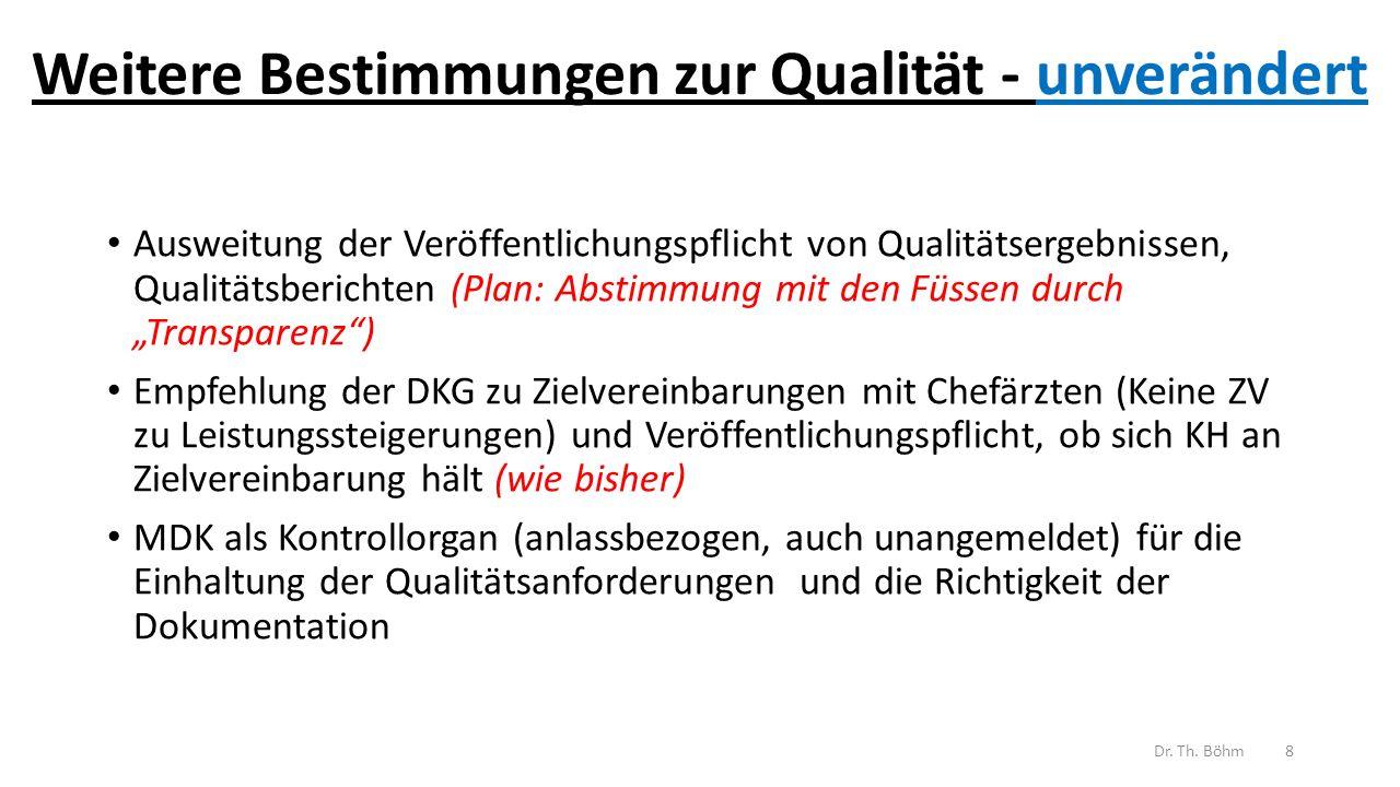 """Weitere Bestimmungen zur Qualität - unverändert Ausweitung der Veröffentlichungspflicht von Qualitätsergebnissen, Qualitätsberichten (Plan: Abstimmung mit den Füssen durch """"Transparenz ) Empfehlung der DKG zu Zielvereinbarungen mit Chefärzten (Keine ZV zu Leistungssteigerungen) und Veröffentlichungspflicht, ob sich KH an Zielvereinbarung hält (wie bisher) MDK als Kontrollorgan (anlassbezogen, auch unangemeldet) für die Einhaltung der Qualitätsanforderungen und die Richtigkeit der Dokumentation Dr."""